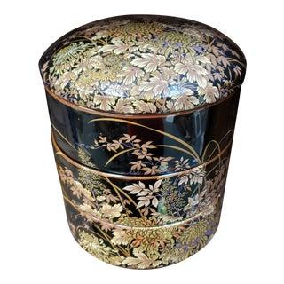 Mid 20th Century Japanese Shibata Tenmoku-Kiku Gilt Porcelain Jubako For Sale