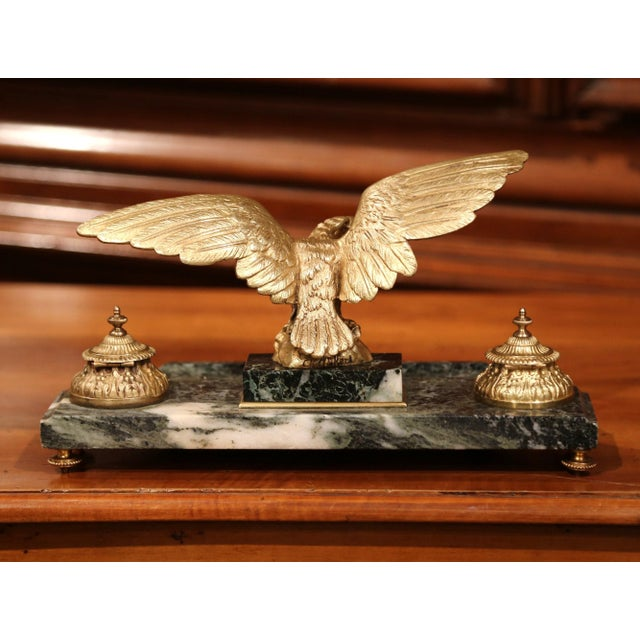 Bronze 19th Century French Bronze Eagle Green Marble Inkwell and Ink Containers For Sale - Image 7 of 8
