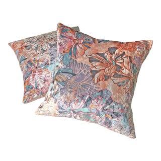 Sōhe Studio Boudoir Bloom and Grid Velvet Pillows - a Pair For Sale