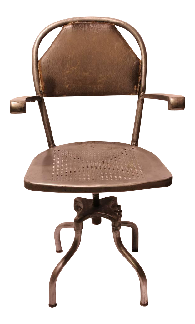 Vintage industrial metal office chair metal Adjustable Decaso Exquisite 1930s Vintage Industrial Metal Office Chair Decaso