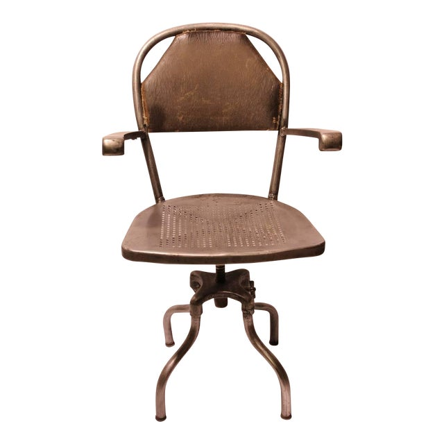 1930's Vintage Industrial Metal Office Chair For Sale