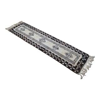 Hand-Knotted Kurdish Runner Rug. Tribal Herki Rug. Boucherouite Style Natural Undyed Wool Rug - 2′9″ × 11′6″ For Sale