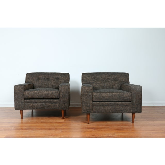 Gray Cubed Lounge Chairs- A Pair - Image 3 of 10