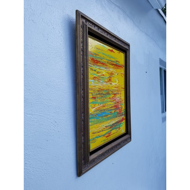 A Modern / Contemporary colorful Abstract Expressionist painting. Signed on the bottom right by listed artist Joe Lago and...