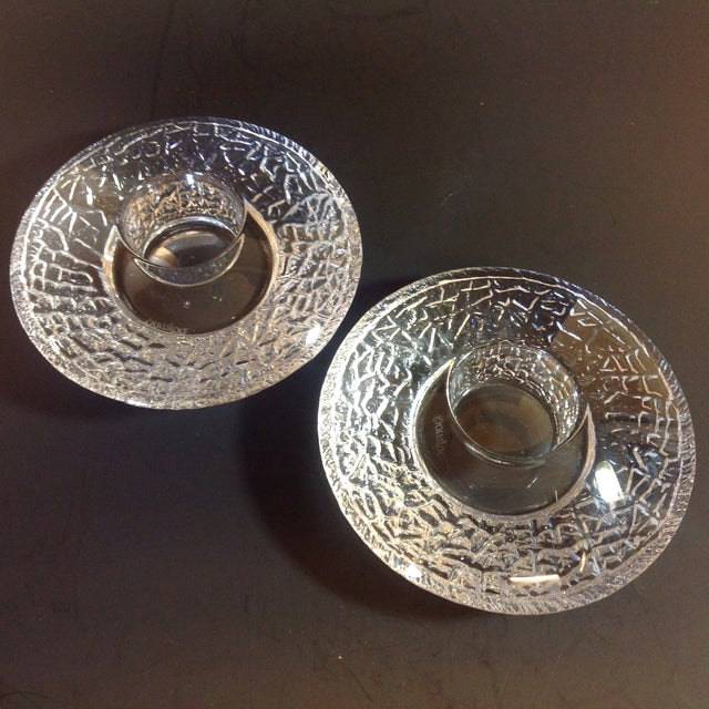 Modern Orrefors Ice Glass UFO Votives - A Pair For Sale - Image 3 of 5