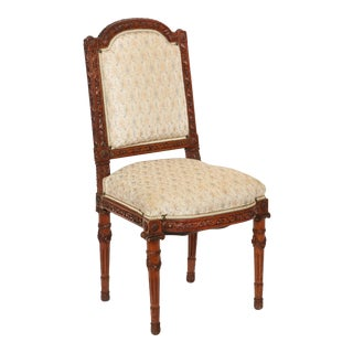 Louis XVI Style Carved Walnut Side Chair For Sale