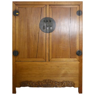 Antique Chinese Lacquered Cabinet With Doors, Drawers and Brass Hardware For Sale