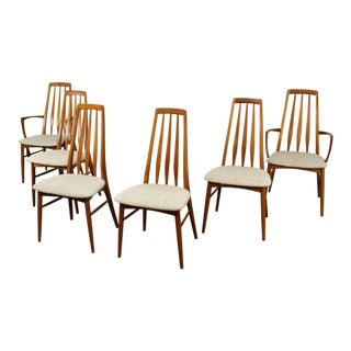 1960s Vintage Niels Koefoed Teak Eva Dining Chairs- Set of 6 For Sale