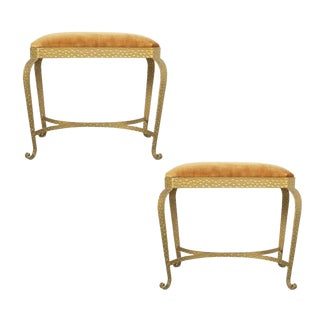 Pair Golden Pier Luigi Colli Iron Bedroom Benches Italy, 1950 For Sale