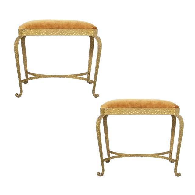 Pair Golden Pier Luigi Colli Iron Bedroom Benches Italy, 1950 For Sale