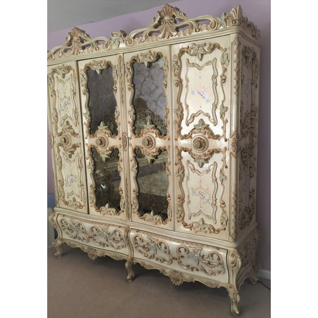 Large RARE Romantic Antique Cream French Rococo Ornate Armoire Fancy Wardrobe w/ Mirrors Be the envy of all with this...