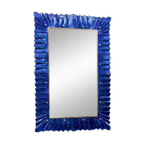 1 of 2 Huge Brass and Blue Murano Glass Mirror For Sale - Image 6 of 6