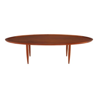 Sculpted Teak Oval Tray Coffee Table For Sale