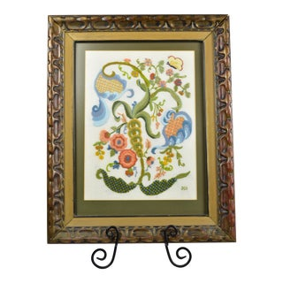 1970s English Traditional Framed Crewel Work Vines Flowers and Butterfly Embroidery