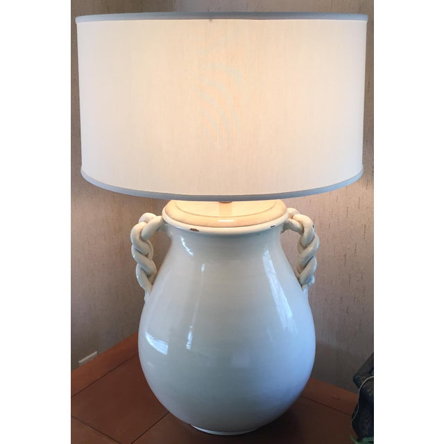 Mid Century Braided Handle Pottery Lamp For Sale - Image 5 of 9