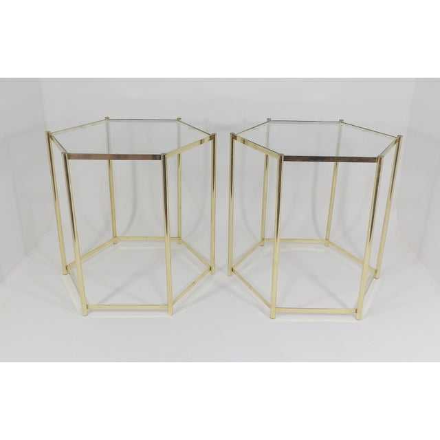 Hexagon Glass Top Brass End Tables Nightstands A Pair Chairish