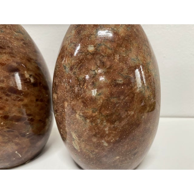 Vintage Italian Marble Egg Bookends - a Pair For Sale - Image 9 of 12