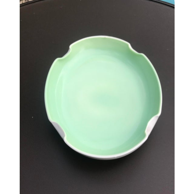 Mid 20th Century Vintage Mid-Century Mint Green Ceramic Quatrefoil Tray or Dish For Sale - Image 5 of 13