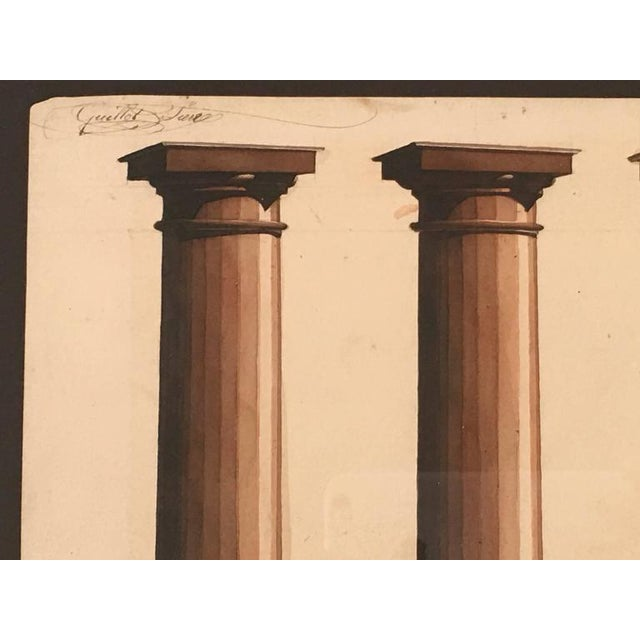 Neoclassical Architectural Watercolor Study of Shadows on Columns For Sale - Image 4 of 8