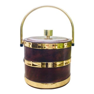 1970s Faux Leather and Brass Ice Bucket For Sale
