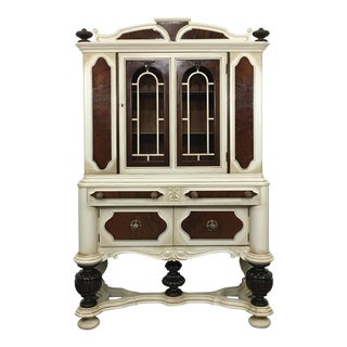 1910s Jacobean China Cabinet For Sale