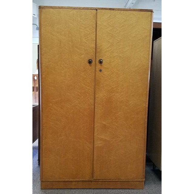 Birdseye Maple Armoire c.1930s Art Deco – UK Import – Interior Shelves & Hanging 42″ Wide x 18″ Deep x 69.5″ High A...