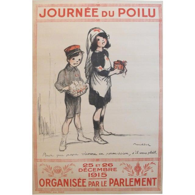 """1915 Original French War Poster - """"Journée Du Poilu, Pour Que Papa Vienne en Permission"""" - Poulbot For Sale"""