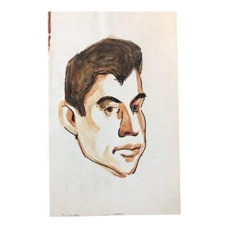 1950s Vintage Portrait of a Man Painting For Sale