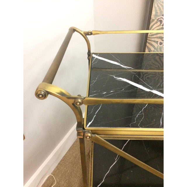 Mid Century Modern Brass & Marble Bar Cart - Image 4 of 9