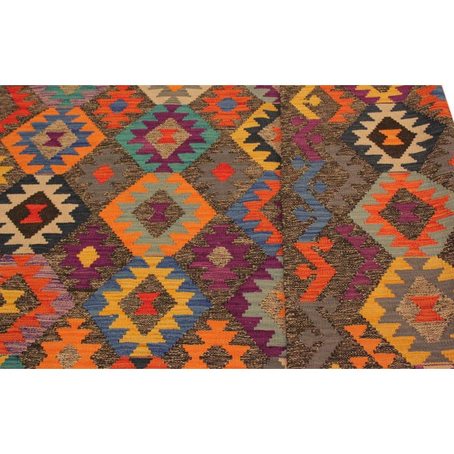 Mary Gray/Blue Hand-Woven Kilim Wool Rug -5'10 X 8'4 For Sale In New York - Image 6 of 8