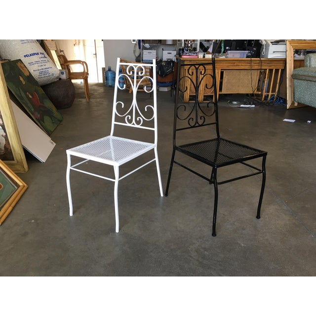 Black Mid Century Outdoor/Patio Side Chair With Scrolling Pattern - Set of 4 For Sale - Image 8 of 9