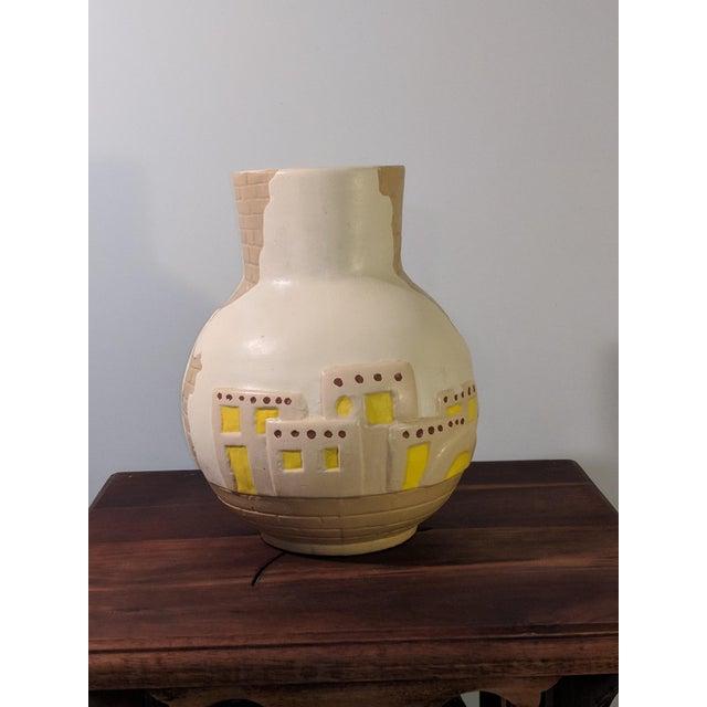 1900 - 1909 1900s Southwestern Pueblo Cactus and Exposed Brick Ceramic Pottery 3D Vase For Sale - Image 5 of 9