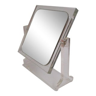 Geometric Edge Lucite Vanity Mirror For Sale