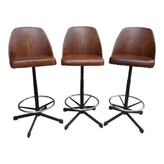 1970's Vintage MCM Cosco Vinyl Adjustable Bar Stools- Set of 3