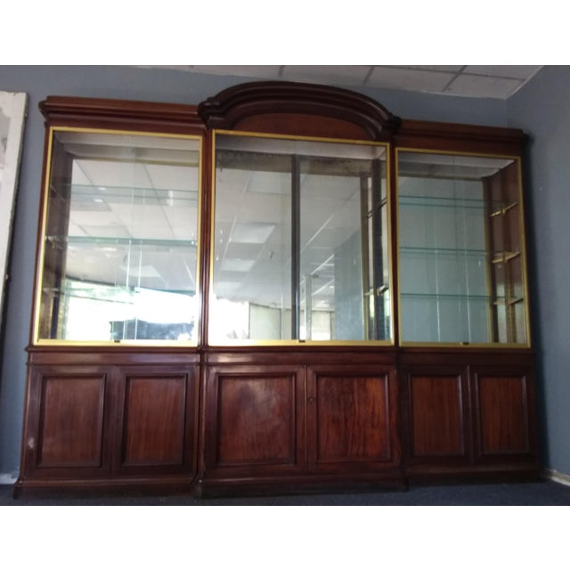 Antique Rosewood Shop Display Case With Miiror and Glass For Sale - Image 10 of 11