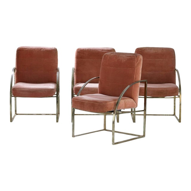 1970s Vintage Brass Upholstered Milo Baughman for Thayer Coggin Chairs- Set of 4 For Sale