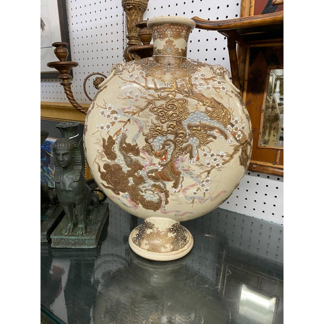 C. 1900 Ceramic Hand Painted Japanese Satsuma Moonflask Vase For Sale - Image 4 of 5