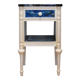 Custom Blue & White Resin Accent Table