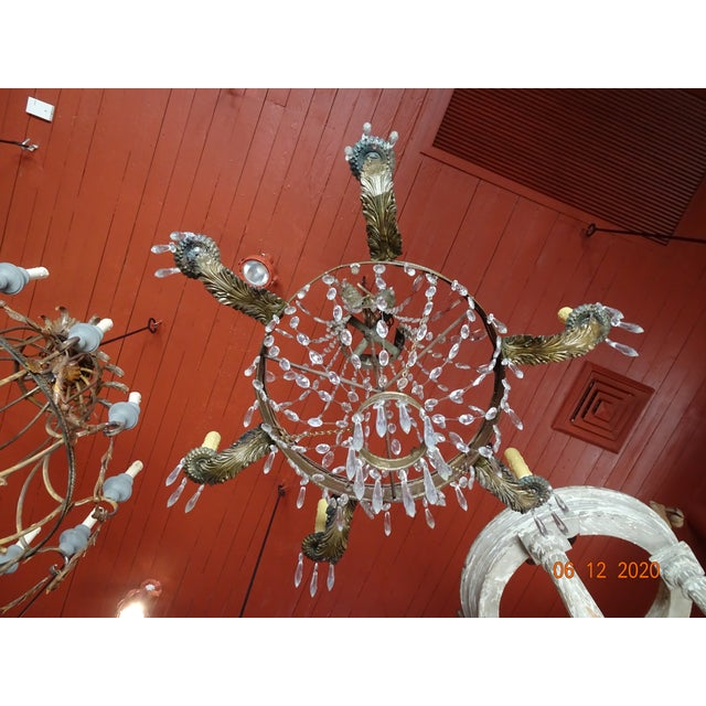 19th Century French Tole and Crystal Chandelier For Sale - Image 9 of 13
