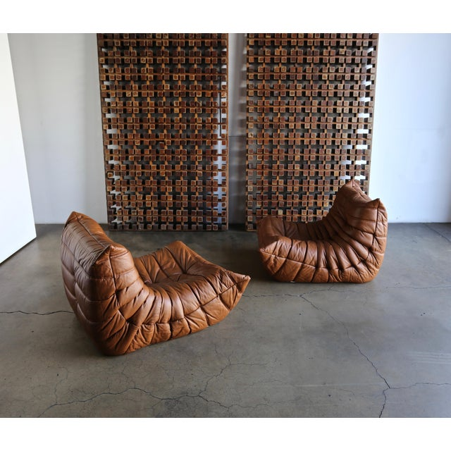 Michel Ducaroy pair of Togo leather lounge chairs for Ligne Roset.