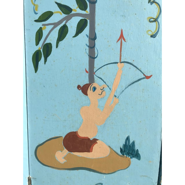 Blue 1960s Tall Hand Painted Indochine Wood Screen For Sale - Image 8 of 11