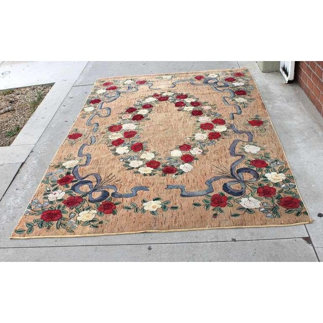 Traditional Large Room Sized Rose and Ribbons Hand Hooked Rug For Sale - Image 3 of 7