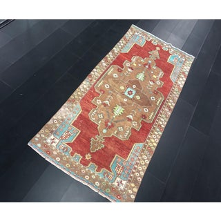 Handmade Traditional Turkish Oushak Aztec Red and Brown Wool Area Rug - 4′2″ × 9′1″ Preview