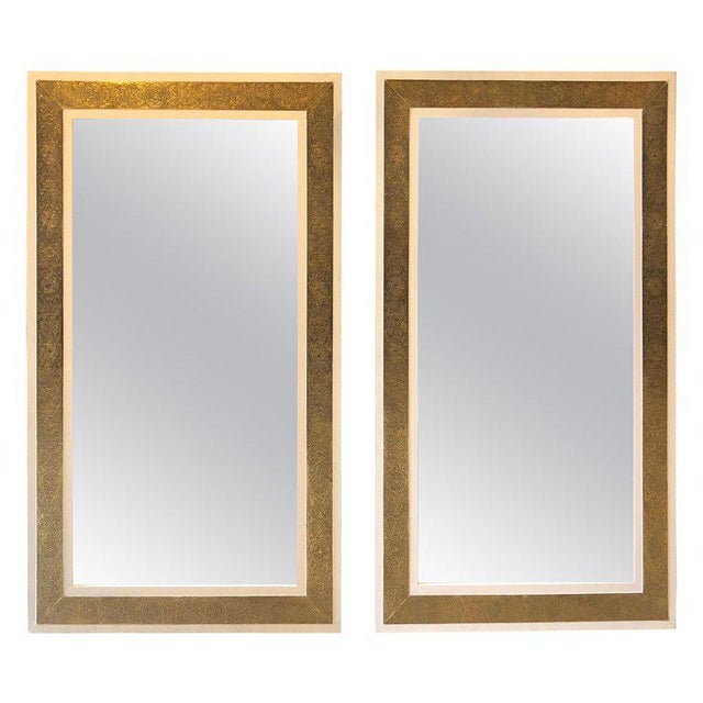 1900s Hollywood Regency Brass on Wood Frame in White Wall Mirrors - a Pair For Sale - Image 9 of 9