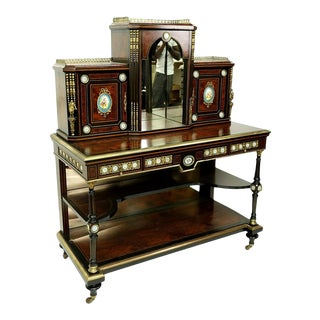19th Century English Victorian Desk Limoes French Plaques For Sale