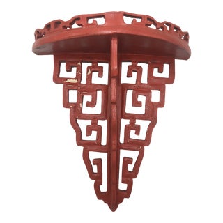 Red Chinese Chippendale Wall Bracket For Sale