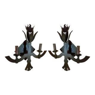 1960s Italian Hand Forged Iron Sconces - a Pair For Sale