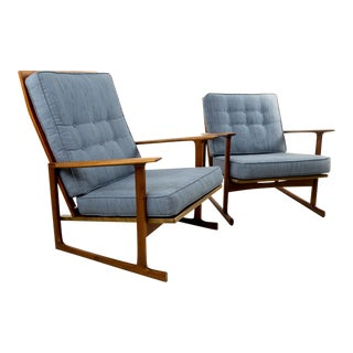 Ib Kofod Larsen for Selig Lattice Back Sled His & Hers Chairs - A Pair