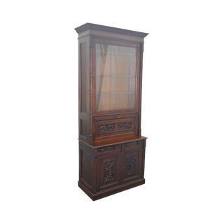 American Victorian Renaissance Carved Walnut Bookcase Top Secretary Desk For Sale