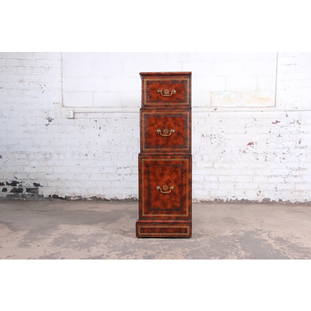 Maitland Smith Flame Mahogany and Leather Chest on Chest Highboy Dresser For Sale - Image 10 of 13